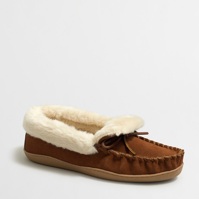 Shearling foldover slippers
