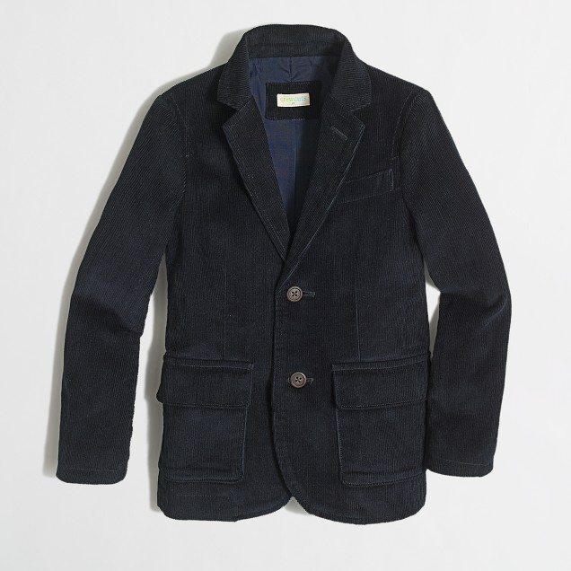 Factory boys' unconstructed Thompson sportcoat in corduroy
