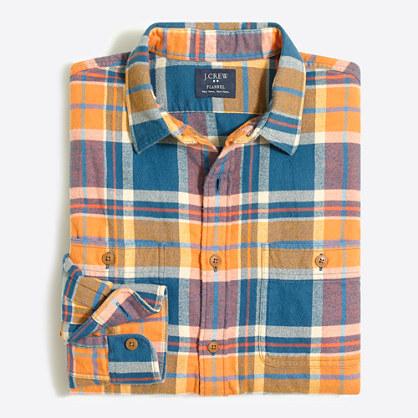 Factory slim plaid flannel shirt