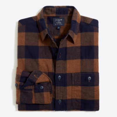 Slim plaid flannel shirt
