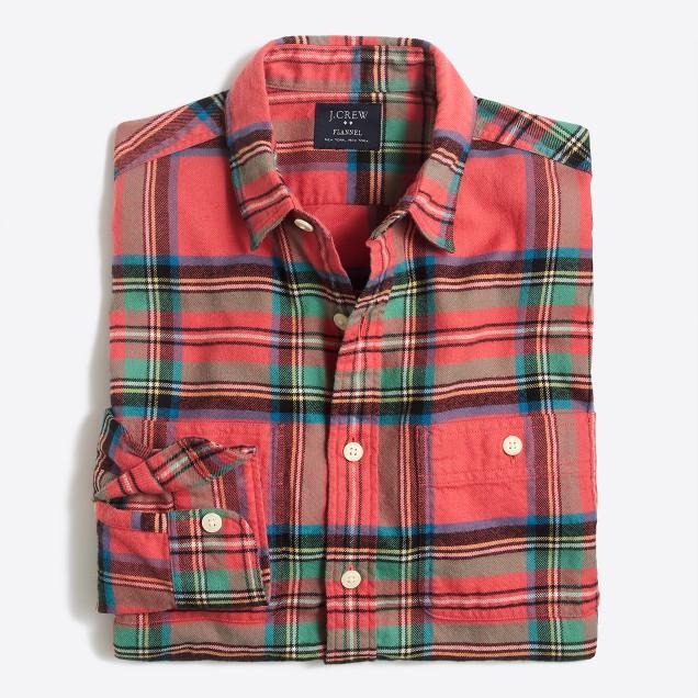 Slim plaid flannel shirt