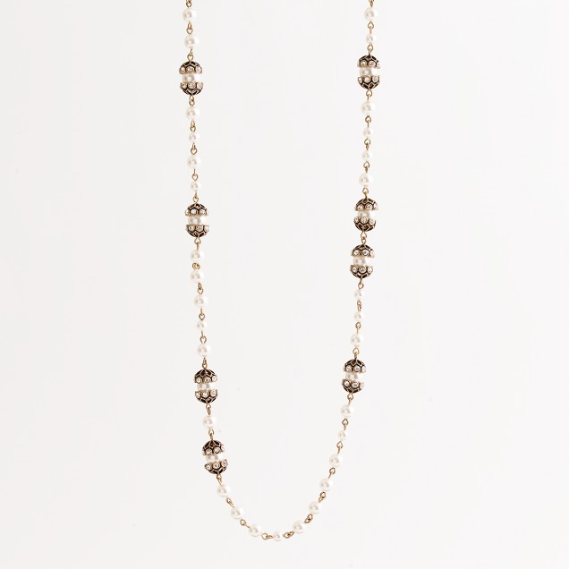 Factory pearl and crystal fireball necklace