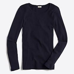 Fine-rib cotton long-sleeve T-shirt