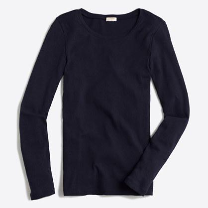 Fine-rib cotton long-sleeve T-shirt