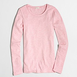 Factory fine-rib cotton long-sleeve T-shirt