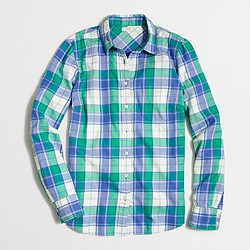 Petite classic button-down shirt in flannel in perfect fit