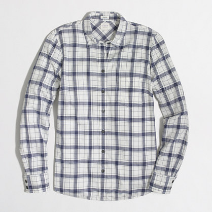 Classic button-down shirt in flannel in perfect fit