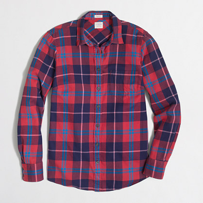 Factory classic button-down shirt in flannel in perfect fit