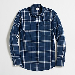 Factory petite classic button-down shirt in flannel in perfect fit