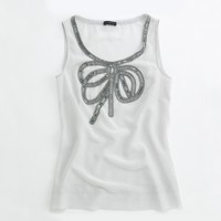 Factory beaded ribbon-front top
