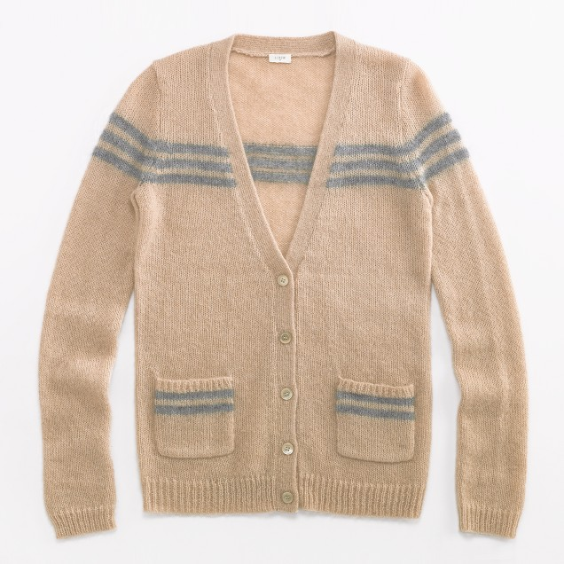 Factory mohair retro-stripe cardigan