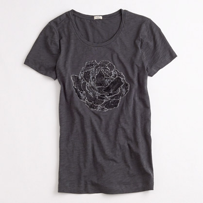 Factory bejeweled rose tee