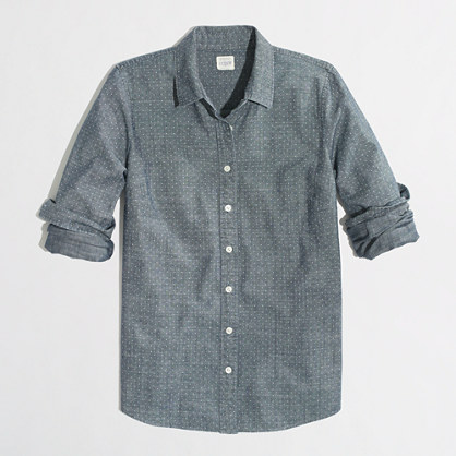 Factory classic button-down shirt in printed chambray