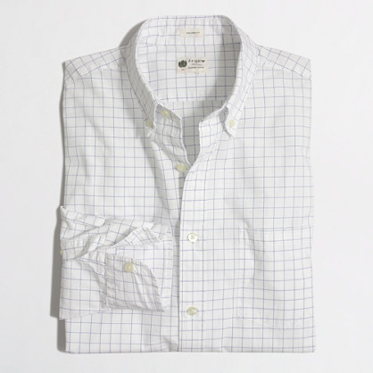 Factory washed shirt in thin open tattersall