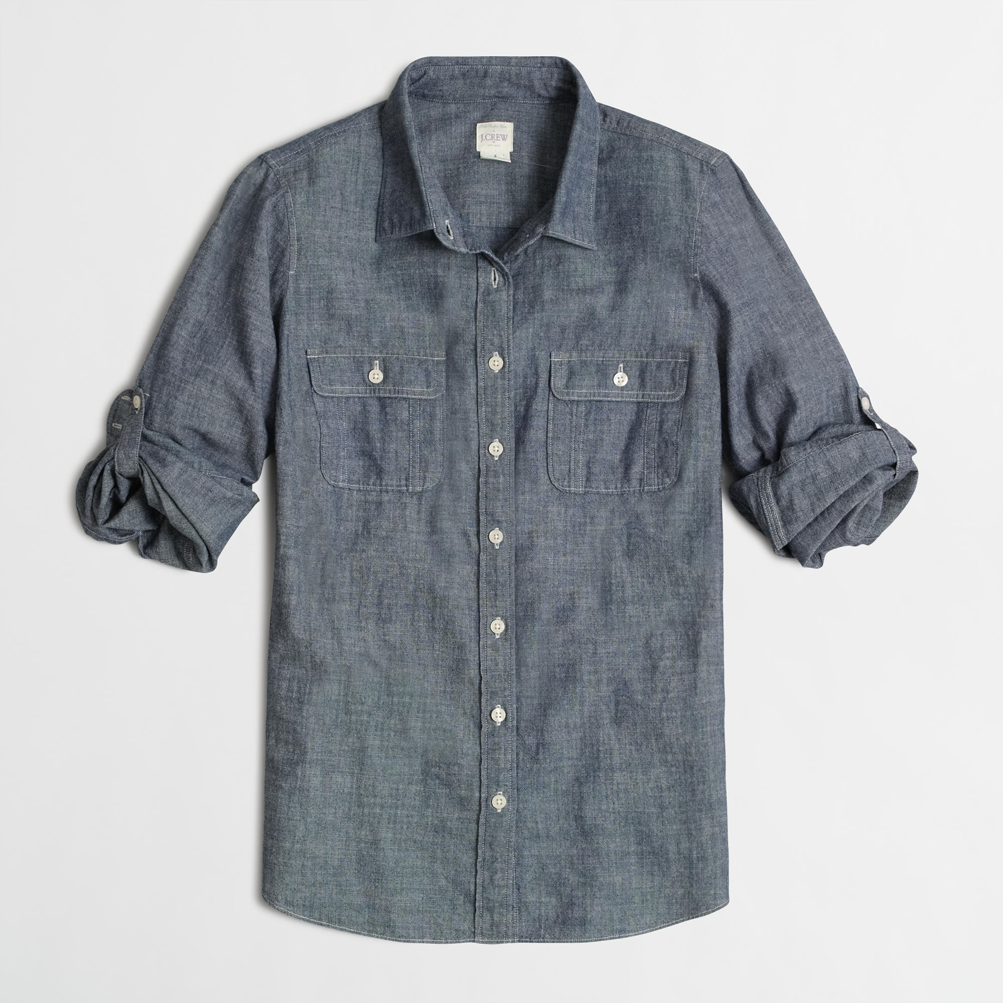 Two pocket chambray shirt women 39 s shirts j crew factory for Chambray shirt women