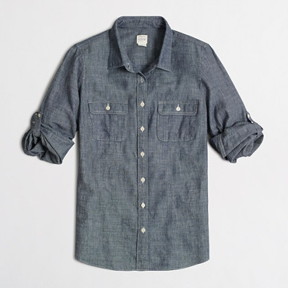 Petite two-pocket chambray shirt