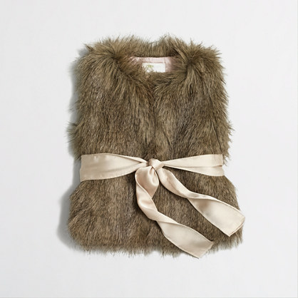 Factory girls' belted faux-fur vest