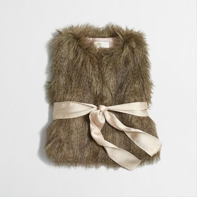 Factory girls' belted faux-fur vest