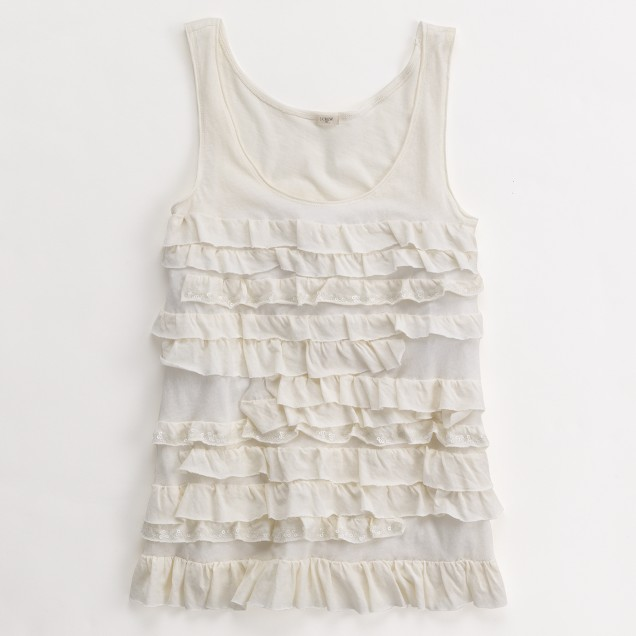 Factory sequin-tiered ruffle tissue tank