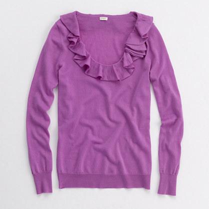 Factory merino rose corsage scoopneck sweater