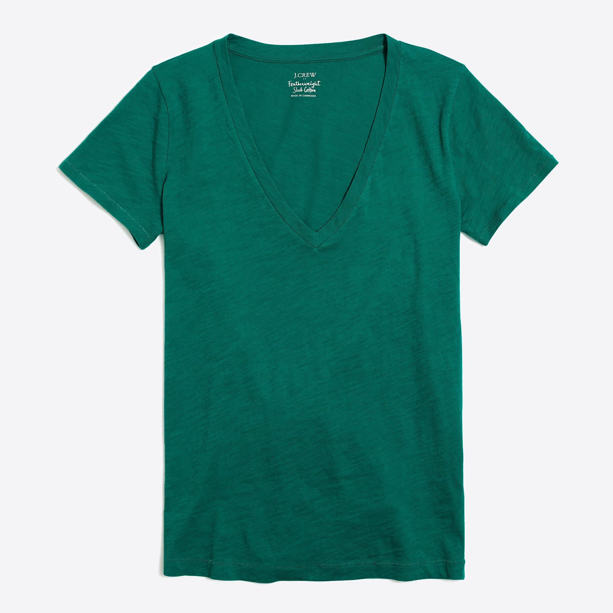 Women 39 s featherweight slub cotton v neck t shirt for What is a slub shirt