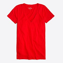 Factory featherweight slub cotton V-neck T-shirt
