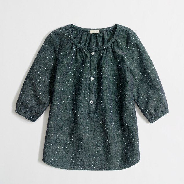 Factory girls' dotted chambray poet blouse