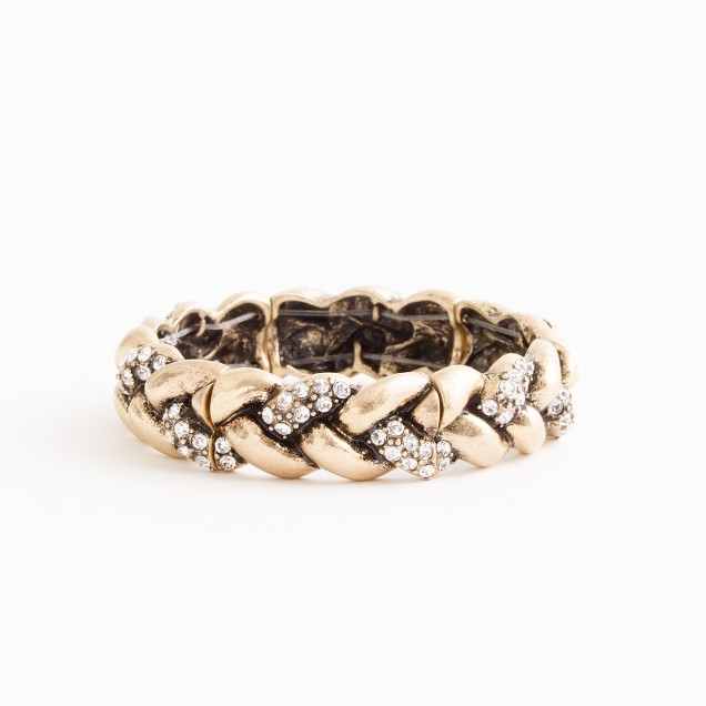 Factory braided gold and crystal bracelet