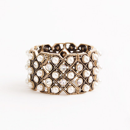 Factory stretch pearl and crystal cuff