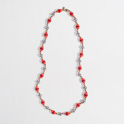 Factory mini bead and crystal charm necklace