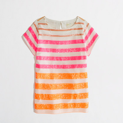 Factory girls' sequin-stripe tee
