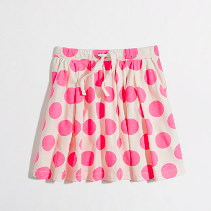 Factory girls' polka-dot drawstring skirt