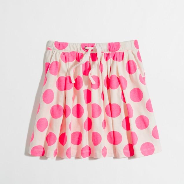 Factory girls' polka-dot drawstring skirt