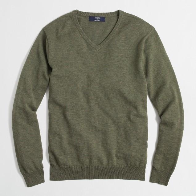Factory slub cotton V-neck sweater