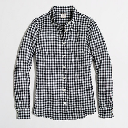 Classic Button-Down Shirt In Suckered Gingham : Women's Shirts | J ...