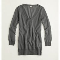 Factory linen-cotton V-neck sweater