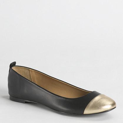 Factory Abby metallic toe cap ballet flats