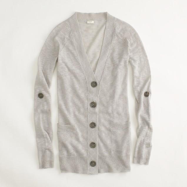Factory linen-cotton camp cardigan