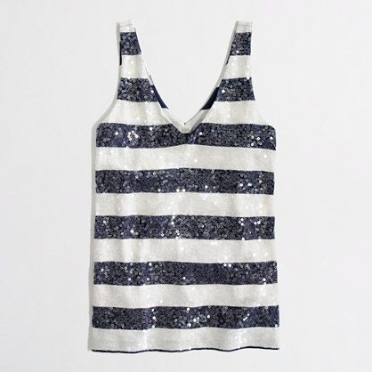 Factory stripe sequin tank