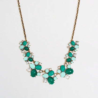 Factory stone and crystal cluster necklace