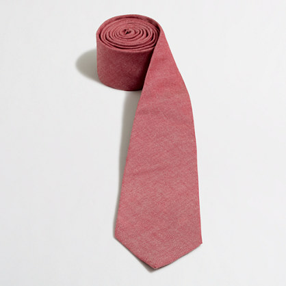 Factory red chambray tie