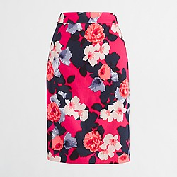 Factory petite printed pencil skirt in stretch cotton