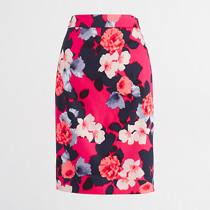 ¿Petite printed pencil skirt in sateen dot