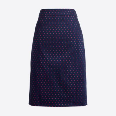 Printed Pencil Skirt In Sateen Dot : Women's Skirts | J.Crew Factory