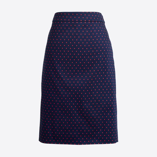 Printed pencil skirt in sateen dot