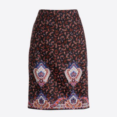 Printed pencil skirt in sateen dot factorywomen new arrivals c