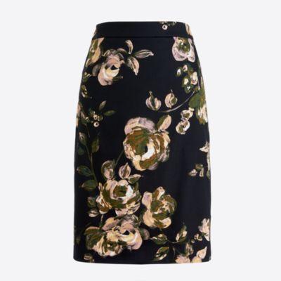 Petite printed pencil skirt in sateen dot