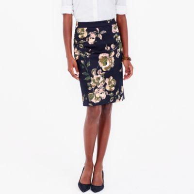 Printed pencil skirt in sateen dot