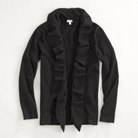 Factory cotton cascade ruffle cardigan