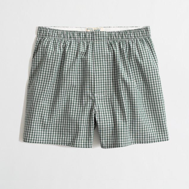 Factory green check boxers